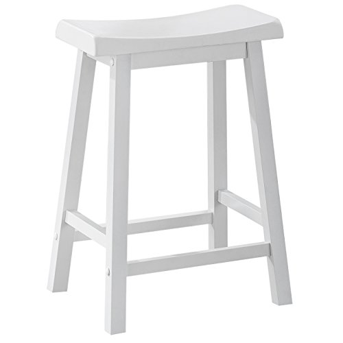 Monarch Specialties I 1533, Saddle Seat Barstools, White, 24