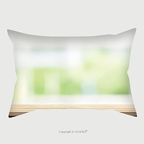 Custom Satin Pillowcase Protector Wood Table Top On Blur White Green Kitchen Window Background Can Be Used For Display Or Montage 520269793 Pillow Case Covers Decorative by chaoran