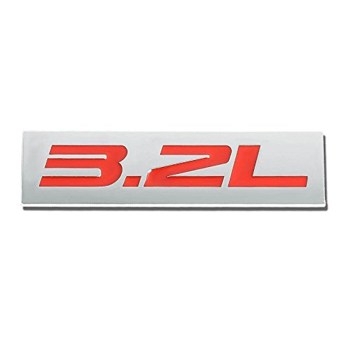 Red/Chrome Aluminum Alloy Auto Trunk Door Fender Bumper Badge Decal Emblem Adhesive Tape Sticker ()