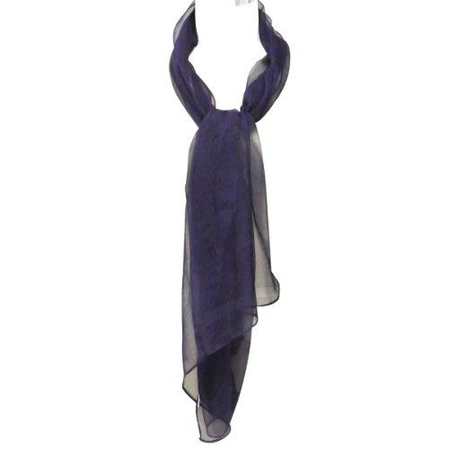 Wrapables Solid Color 100% Silk Long Scarf, Indigo