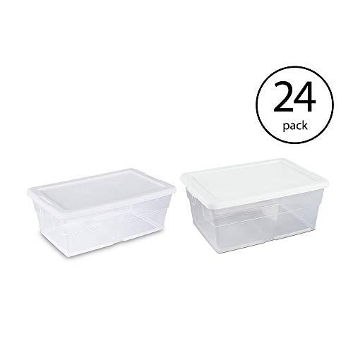 Sterilite 16 Quart Clear Stacking Closet Storage Box Container Tub | 16448012 (24 Pack) Sterilite 6 Quart Clear Stacking Closet Storage Tote Container with White Lid (24 Pack)