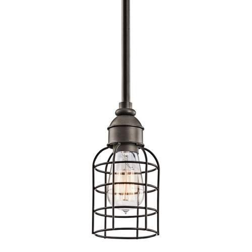 Kichler 42308OZ, Mini Pendant, 1LT Incandescent, Olde Bronze by Kichler Lighting