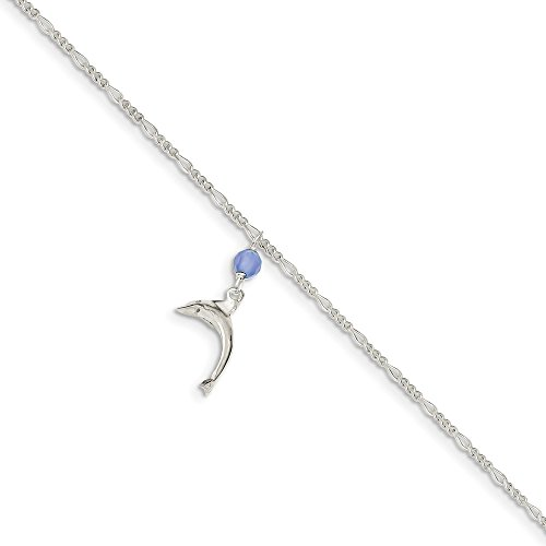 Figaro Themed Anklet Polished Solid 925 White Sterling Silver Blue Quartz Bead Dangling Dolphin Figaro Anklet (Sterling Silver Dangling Dolphin)