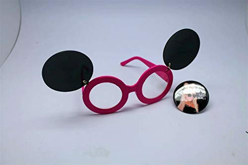 Button Pin of Lady Gaga Wearing Mouse Ear Flip Up Pink Clear Lens Sunglasses #LU01 (Lady Gaga Up Flip Sunglasses)