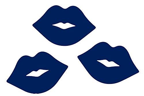 ANGDEST Lips Kiss Pattern Couple (Navy Blue) (Set of 2) Premium Waterproof Vinyl Decal Stickers for Laptop Phone Accessory Helmet Car Window Bumper Mug Tuber Cup Door Wall Decoration
