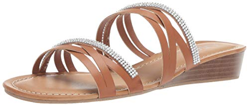 Sugar Women's Day Off Casual Demi-Wedge Strappy Sandal Slide with Rhinestones, Cognac Smooth/Stones 8.5 M US