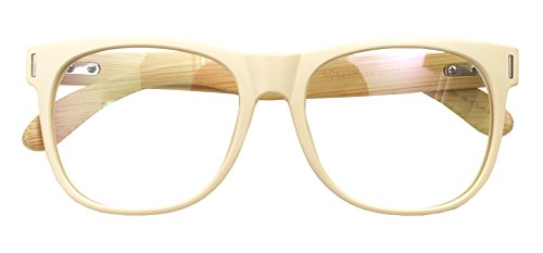 Real Bamboo Wood Temples Eyeglasses Frames Men Women Retro Spectacle Wooden Arm Foot Eyewear (BEIGE - Spectacles Retro