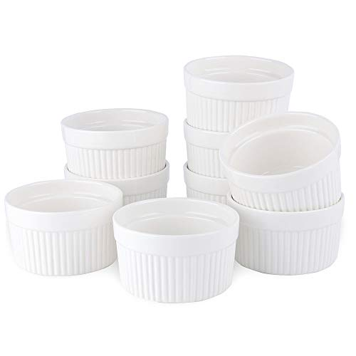 SZUAH Porcelain Ramekins, 4oz Baking Ramekins for Souffle, Creme Brulee, Appetizer, Custard, Pudding and Ice Cream, Set of 9.