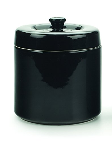 RSVP Stoneware 6-Cup Grease Keeper, Black