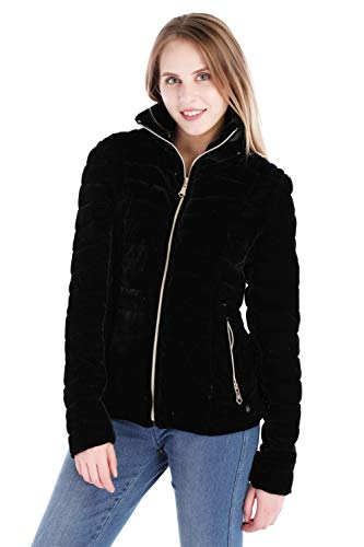 Dolcevida Womens Velvet Quilted Puffer Lightweight Jacket Primaloft Coat for Women (Black, M)