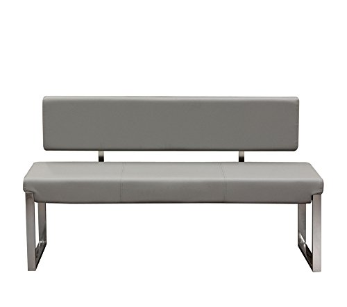 Knox Bench w/ Back & Stainless Steel Frame by Diamond Sofa - Grey- # KNOXBBEGR (Diamond Sofa Accent)