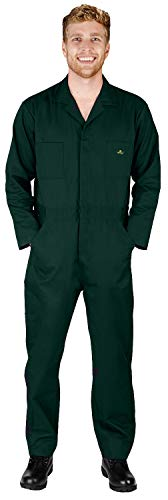 - NATURAL WORKWEAR - Mens Regular and Big Sizes Long Sleeve Basic Blended Coverall, Green 40591-X-Small