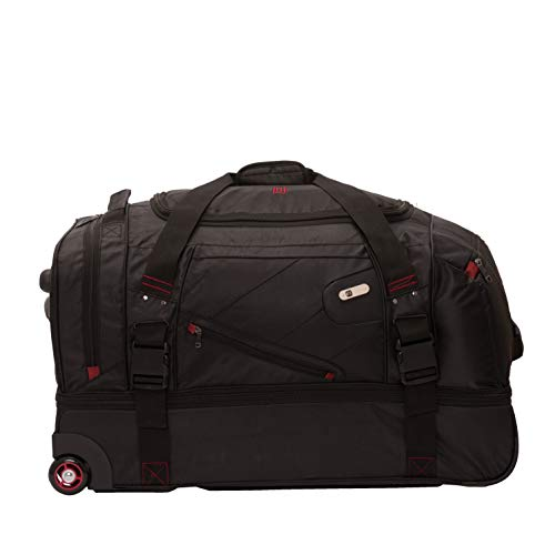 Ful Tour Manager 30-inch Rolling Duffel Bag, Retractable Pull Handle Split Level Storage ,Black