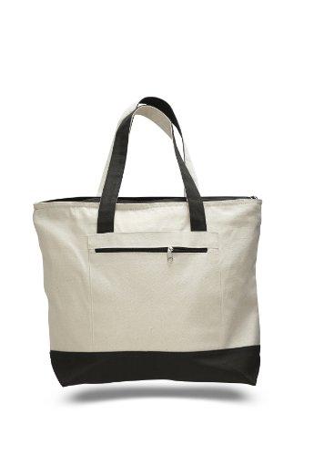 Reusable Heavy Canvas Cotton Zipper Shopping Tote Bag Large