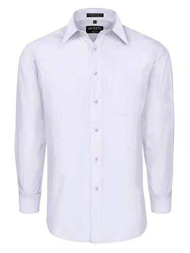 Men's Classic Dress Shirt with Convertible Cuffs -White (L) 36/37 Sleeve - Formal Cotton White Shirts