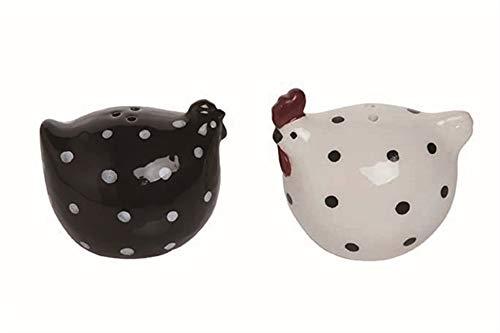 Black & White Hen Ceramic Salt & Pepper Shakers - Set-/2-2.25