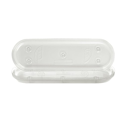 Idyllize Oval 5 Pieces of 14 by 4 5/8 Inches Clear Plastic Heavy Duty Plant Saucer Drip Trays for pots, Window Sills and Window Shelf (14'' x 4.6'') (Rectangular Trays)