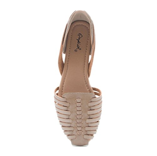 Qupid Womens Palmer-413 Appartements Tissés Taupe
