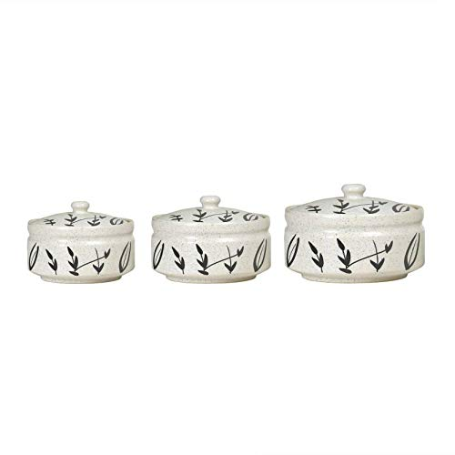Caffeine Ceramic/Stoneware Bamboo Leaf Casserole  1 Large, 1 Medium and 1 Small, White and Black    Set of 3