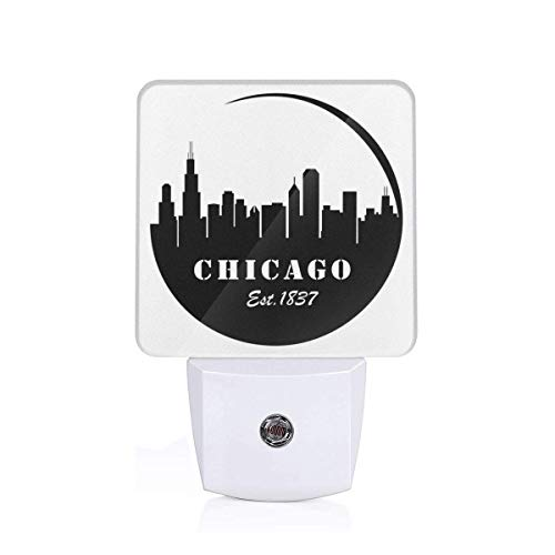 - Colorful Plug in Night,American Town Famous Urban Design in Black I Love Chicago Architecture,Auto Sensor LED Dusk to Dawn Night Light Plug in Indoor for Childs Adults