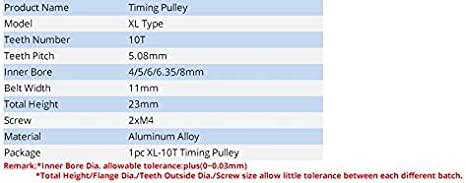 8mm Bohrung Gang Pulley mit Rasterma/ß 5,08 mm 11 mm Riemenbreite Aluminiumlegierung Synchronzahnriemenscheiben Gr/ö/ße : 4mm NO LOGO L-TAO-Pulley 1pc XL 10T Zahnriemenscheibe 4//5//6//6.35