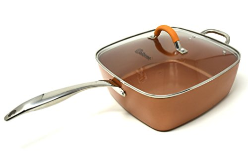 Replacement Lid for Copper Chef Copper Fry Pan Skillet and Measures 11'' Square Tempered Glass Lid with Premium Silicone Wrapped Handle by Salbree by Salbree (Image #6)