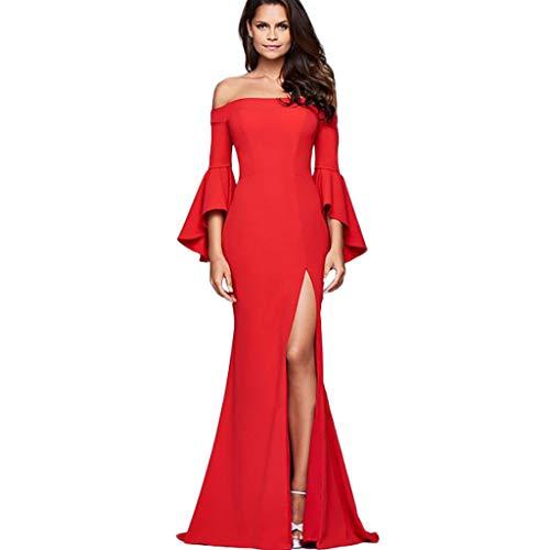 Rakkiss_Vintage Dress Solid Elegant Bell Sleeve Sexy Word Collar Split Skirt Red ()