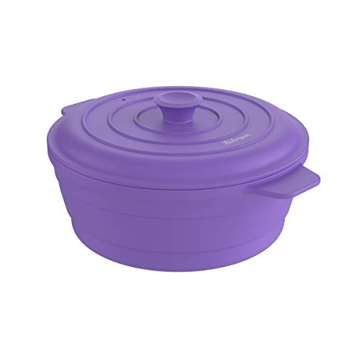 Bakerpan Silicone Round Collapsible Space Saving Pot, Steamer Cooker with Lid, 64 Fl oz Capacity