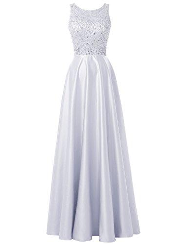 Soir La Soirée Des Femmes Solovedress Perles Robe Satin Robe De Bal De Demoiselles D'honneur Pour Mariage Blanc