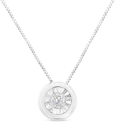 10K Gold White Diamond Solitaire Pendant