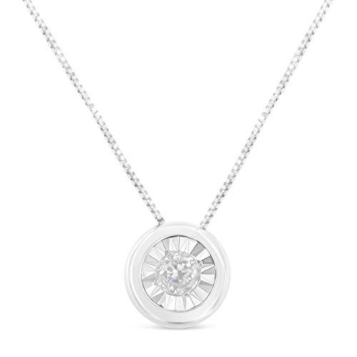 Original Classics 10K White Gold Bezel-Set Diamond Solitaire Pendant Necklace (0.1 cttw, H-I Color, I2-I3 Clarity)