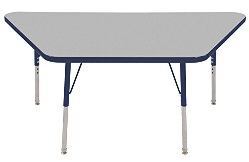 "ECR4KIDS Education ECR4Kids Mesa Premium 30"" x 60"" Trapezoid School Activity Table, Standard Legs w/ Swivel Glides, Adjustable Height 19-30 inch (Grey/Navy) price tips cheap"