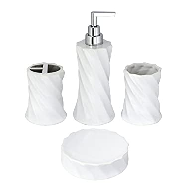 MODONA 4-Piece Flora Series Porcelain Bathroom Accessories Set, White