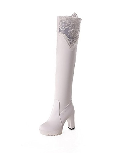AllhqFashion Damen Blend-Materialien Rein Überknie Hohe Stiefel Hoher Absatz Stiefel, Schwarz, 34