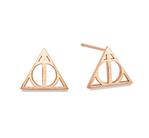 (Altitude Boutique Geometric Triangle Stud Pyramid Earrings Punk Earrings (Gold, Silver) (Rose)