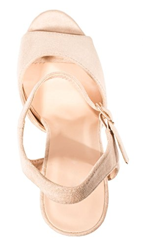 Zapatos Elara imitación Beige Ante cómoda de Plataforma tacón chunkyrayan de TvawvqAf