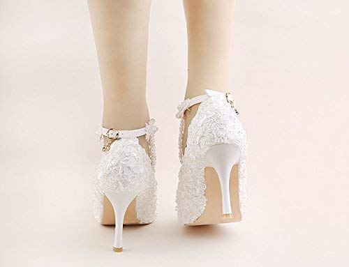 e324c8baa2b55 Amazon.com: handmade white ivory lace pearls anklet open toe Wedding ...