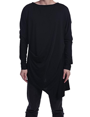 Nice Coofandy Men's Casual Long Sleeve O Neck Solid Loose Pleated Pullover T-Shirt free shipping