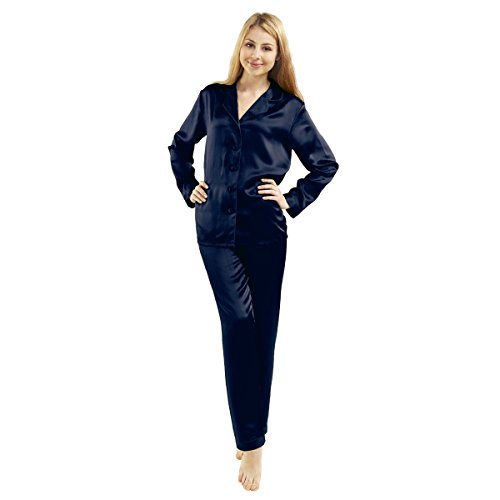 LUXUER Women's Handmade Pure Mulberry Silk Pajama Set Classic Luxury Large Navy Blue by LUXUER