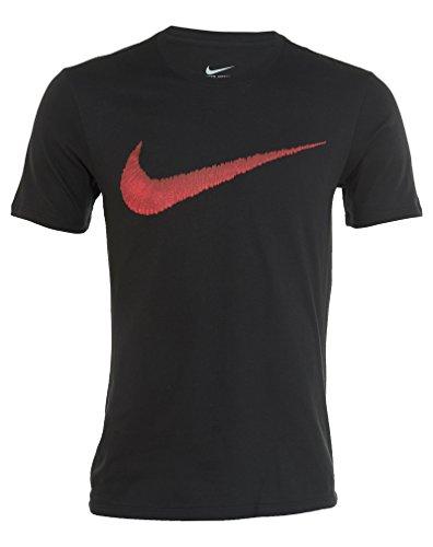 Nike Men's Sportswear Swoosh T-Shirt Black/Sport Red X-Large
