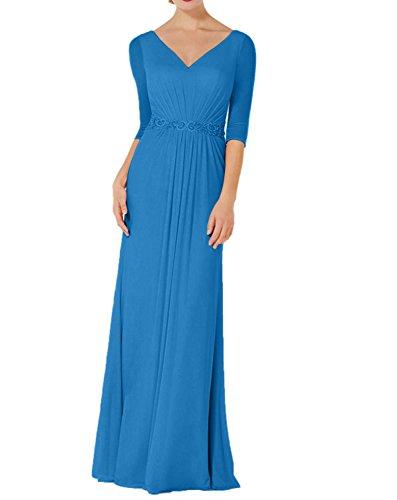 Langarm Damen 4 Dunkel Chiffon Brautmutterkleider Blau Abendkleider Blau Charmant Ballkleider Navy 3 Etuikleider fCY1q
