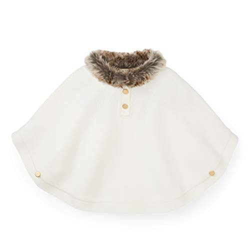 Hope & Henry Girls White Sweater Cape with Faux Fur - Collar Fur Sweater Faux