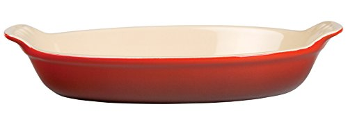 Le Creuset Heritage Stoneware Petite Oval Au Gratin Dish, Cerise (Cherry Red)