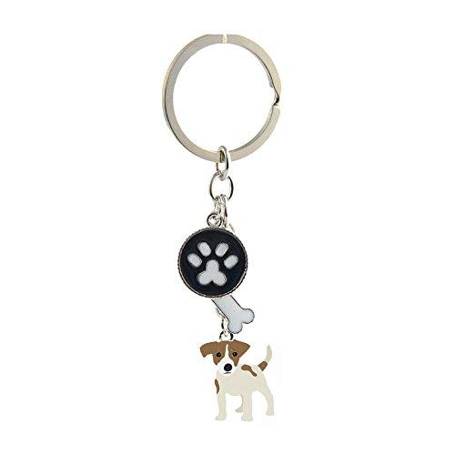 Key-ring Keychain,Cute Metal Small Dog Puppy Keychain Keyring Keyfob Car Bag Charm Dog Tag Chains Birthday Christmas Gift (Jack Russell)