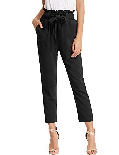 KANCY KOLE Women's High Waist Paperbag Pants Casual Long Trouser Cropped Slacks with Pockets (Black,L) ()