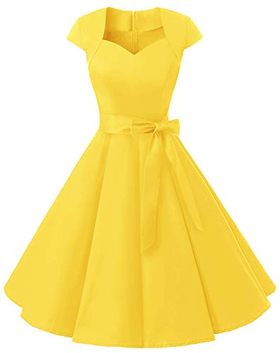 (MUADRESS 1960 Women's Retro 1950s Cap Sleeve Vintage Rockabilly Prom Swing Dresses Yellow XXX-Large)