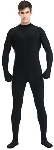 Speerise Adult Full Lycra Spandex Bodysuit Unitard Costume Zentai Suit Without Hood, XL, (Black Lycra Spandex Bodysuit Costumes)
