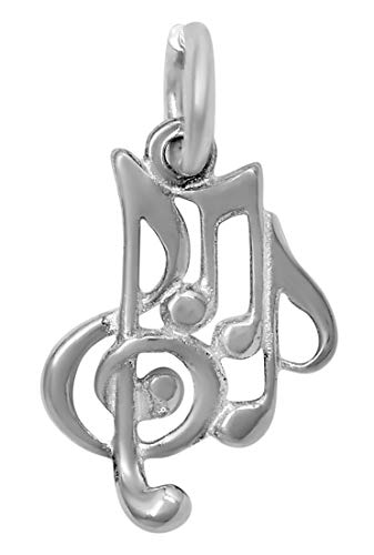 Tempo Metal Finish - Raposa Elegance Sterling Silver Musical Notes Charm (approximately 12.5 mm x 9.5 mm)