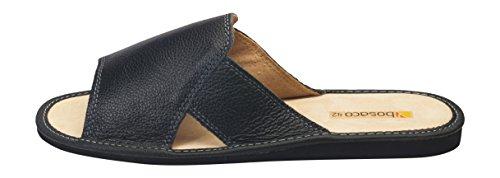 Bosaco Hombres Comfort Luxury House Slip On Zapatillas De Cuero Genuino Negro