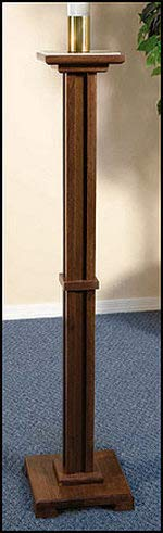 Walnut Candle Stand - CB Walnut Stain Wood Paschal Candleholder with Brass Socket, 43 Inch (H)